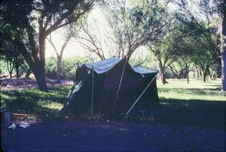 Our Pathetic Tent at Big Bend Rio Grande Village!