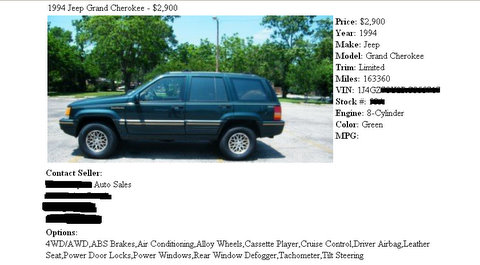 Used Jeep Cherokee Screenshot Ad!