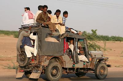 A rural Indian public transportation vehicle - Mahindra jeep