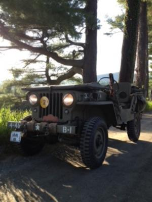 The top and  windshield down for a drive in my 1947 CJ2A (restored as WWII MB)