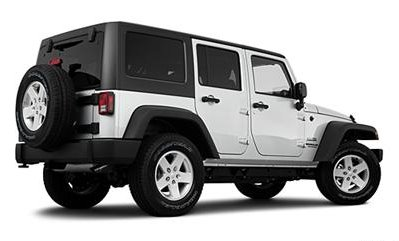 2011 Jeep Wrangler Unlimited White Rearview